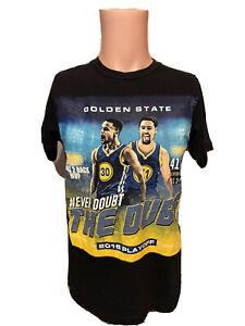 Men's 2016 Playoffs Stephen Curry & Thompson Warriors Black Shirt Size Medium