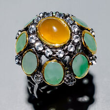 Handmade Natural Cat's Eye Apatite 925 Sterling Silver Ring Size 7.5/R120497