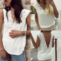 Womens Lace V-Neck Tank Tops Sleeveless Blouse Crochet Vest T Shirt Summer Party