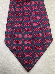 HERMES MENS TIE BLUE WITH RED NUMBER 7150 3.25 X 59