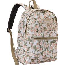 """Everest Basic 15"""" School Backpack Floral Pattern Rucksack Book Bag Beige NEW"""