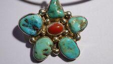 lutz Whitebird Cherokee Turquoise Pendant Native American Sterling Coral Charm