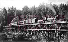 South Pacific Coast Railroad (SPCRR) Engine 9 near Big Trees, CA in 1890 - 8x10