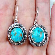 E847 Boucles d'oreilles  Argent Massif 925 Turquoises Marcassites