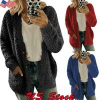Women's Long Sleeve Fluffy Fleece Oversized Cardigan Sweater Pocket Coat Jacket