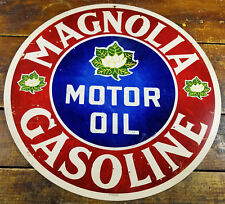 "Magnolia Gasoline Motor Oil White Flower Logo Gas Station 14"" Round Adv Sign"