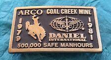 Vintage ARCO Oil & Gas COAL CREEK MINE Daniel Intl. 1980 Solid Brass BELT BUCKLE