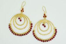 Ottomangems semi precious stone gold plated earrings agate hoop handmade