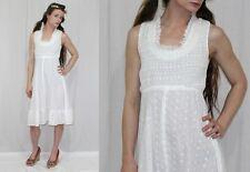 Vintage 70s White EYELET Smocked A Line Tie Retro SUN Wedding Party Dress~XS/S