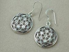 925 Sterling Silver Earrings Drop Dangle Dangling Filigree Flower of Life Women