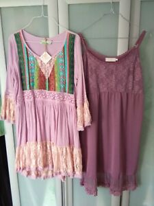Fioroni Boho Ibiza Kleid Tunika S/M + Cream Unterkleid Gr. L🌸