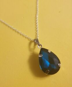 Teardrop Pendant crystal necklace dark teal made with Swarovski Elements New