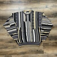 Vtg 90s Bachrach Mens Large Coogi-Style Cosby Bright Pullover Sweater Hip Hop