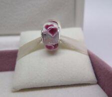 New w/Box Pandora Wild Hearts Murano & Dichroic Glass Charm Bead #791649 Love