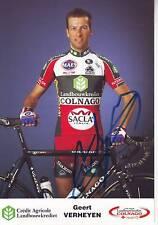 carte cycliste GERT VERHEYEN équipe COLNAGO 2005 signée