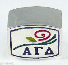 Alpha Gamma Delta Large Hole European Bead Color Logo .925 Silver ΑΓΔ