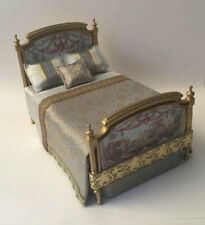Dolls House Gold Bed, With Beautiful Bedding