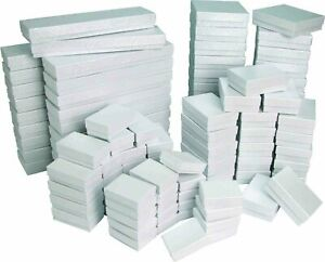 White Boxes with cotton filled inserts.  Available in many sizes and quantities.
