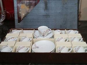 Vintage Hebron ADC Rhinestone Tea Cup and Saucer 24 pc Set - Amethyst Sapphire