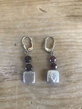 Freshwater Pearl & Purple Amethyst Drop Earrings Genuine Sterling Silver