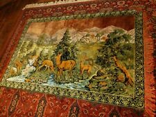 Vintage Scenic Large Tapestry With Deer Scene