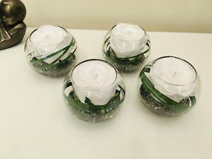 SET OF 4 ICE WHITE ROSE, GRASS & DIAMANTE GLASS BOWL FAUX FLOWER ARRANGEMENTS
