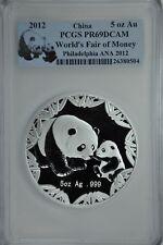 2012 China 5 oz  Silver Panda World Fair of Money Philadelphia PCGS Proof-69DCAM