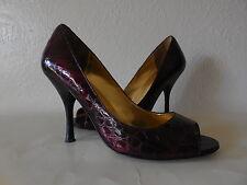 Sz.6M Enzo Angiolini  Mayalin Peep-Toe Crocodile Patttern Heel Shoes-Red Cherry