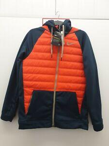 Nike Therma Full Zip Winterized Hoodie Training Jacket  Size Medium Navy/orange