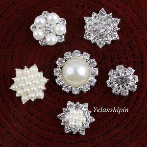 30pcs Clear Crystal Flatback Silver Pearl Rhinestone Buttons For Hair Accessory