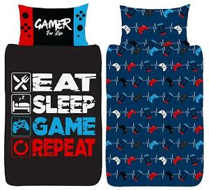Gamer Single Duvet Cover Eat Sleep Game Repeat Controller Reversible Bedding