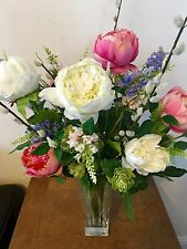 X-LARGE PEONY & ROSE ARTIFICIAL FLOWERS ARRANGEMENT IN CUT GLASS VASE WITH WATER
