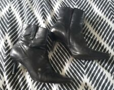 Black Leather Zip Up Ankle Heel Stiletto Boots size 5