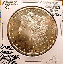 1882-S MORGAN SLIVER DOLLAR CHOICE+ BU/MS DEEP MIRROR PROOF-LIKE, RARE NICE B500