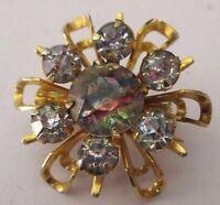 Petite jolie broche ancien bijou vintage couleur or cristaux diamant 1  *160