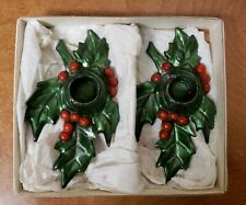 Vintage Cast Iron Colonial Christmas Holly & Berry Candle Holders