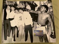 AWESOME MUHAMMAD ALI SIGNED 16X20 PHOTO WITH THE BEATLES MOUNTED MEMORIES COA