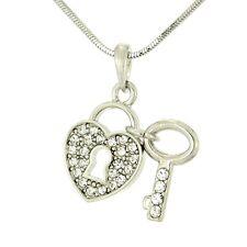 W Swarovski Crystal Clear Key To The Heart Lock Pendant Necklace
