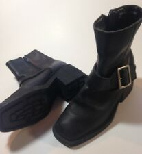 Vintage 90's Esprit Black Thick Leather Moto Ankle Boots Chunky Rubber Heels 6.5