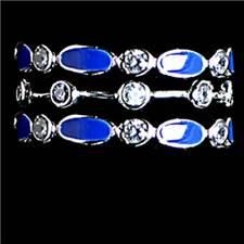 3-Ring Set_Blue Enamel Cz Eternity Band Rings_Sz-6