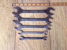"""5 Vintage Gordon Tools Spanners 5/8""""W to 1/8""""Whitworth."""
