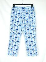 EUC Talbots Women's Size 4 Stretch Blue White Print Capri Cropped Pants CUTE!