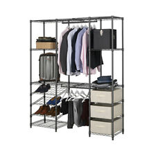 Extendable Grey Wardrobe Clothes Rail With 3 x Cream Linen Pull Out Storage Bask