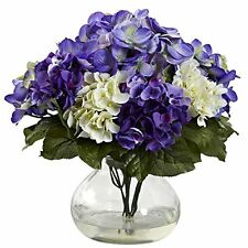 Nearly Natural 1364-Bp Mixed Hydrangea with Vase Blue- Purple