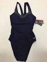 Speedo Women's Precision Pleat Touchback Swimsuit, Starry Blue, Size 8