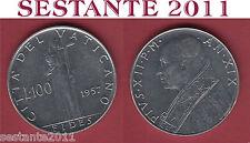 V22  VATICANO VATICAN CITY  PIO XII  100  LIRE  1957   KM 55  ,  SPL++  /  XF++