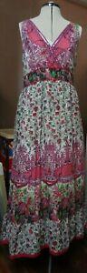 Orientique Stunning Pink & Green Floral Sleeveless Dress (12)