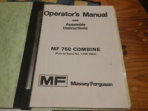 Massey Ferguson 760 Combine Operator's Manual Book