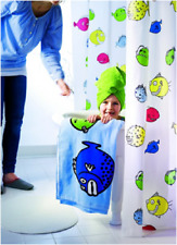 "Peva Shower Curtain Multicolor Fish pattern 71 x 71"" Children Bathroom 80202947"