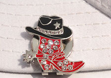 Crystal Cowgirl Boot and Hat Ball Marker with Magnetic Hat Clip